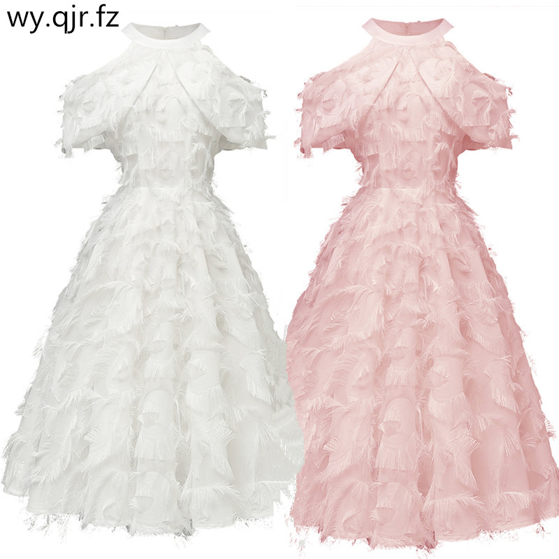 CD1707#Burgundy Bridesmaid Dresses Short New Winter Style Of 2019 White And Pink Party Prom Dress Girl Wholesale Feather Tassels