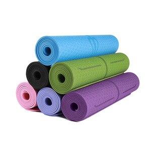 1830*610*6mm TPE Fitness Yoga Mat Tasteless Anti-slip with Position Line For Beginner Environmental Fitness Gymnastics Mats