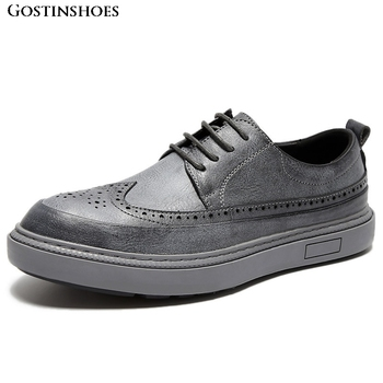 KPOCCOBKN Brogue Casual Buty Meskie Flat Fashion Men Shoes Casual Zapatos De Hombre Business Buty Meskie фото