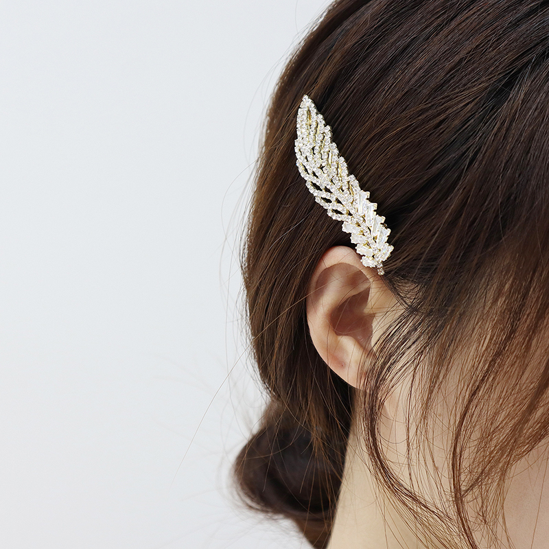 Korean Exquisite Crystal Zirconia Feather Hairpin Hairgrips 14k Real Gold Cute Hair accessories Pendant Jewelry-1