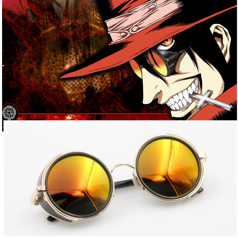 Anime HELLSING Alucard Cosplay Prop Vampire Hunter Glasses Orange Sunglasses For Men Women