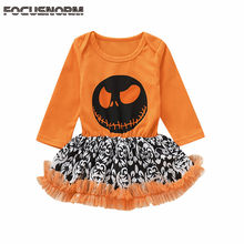 2019 Baby Autumn Clothing Infant Baby Kid Girl Halloween Clothes Long Sleeve Romper Tutu Dress Pumpkin Playsuit Outfits 0-24M(China)