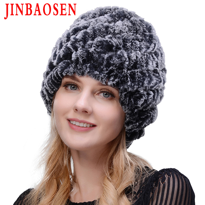JINBAOSEN 2019 Women's Fashion Fur Rabbit Fur Hat Double Warm Knit Hat Natural Fur Hat Mink Fur Winter Travel Tourist Ski Cap