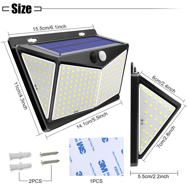 Solar Lights Outdoor 208Leds Ip65 Waterproof Wireless Motion Sensor Light 270 ° Wide Angle  Wall Lights Solar Lamp With 3 Modes 3