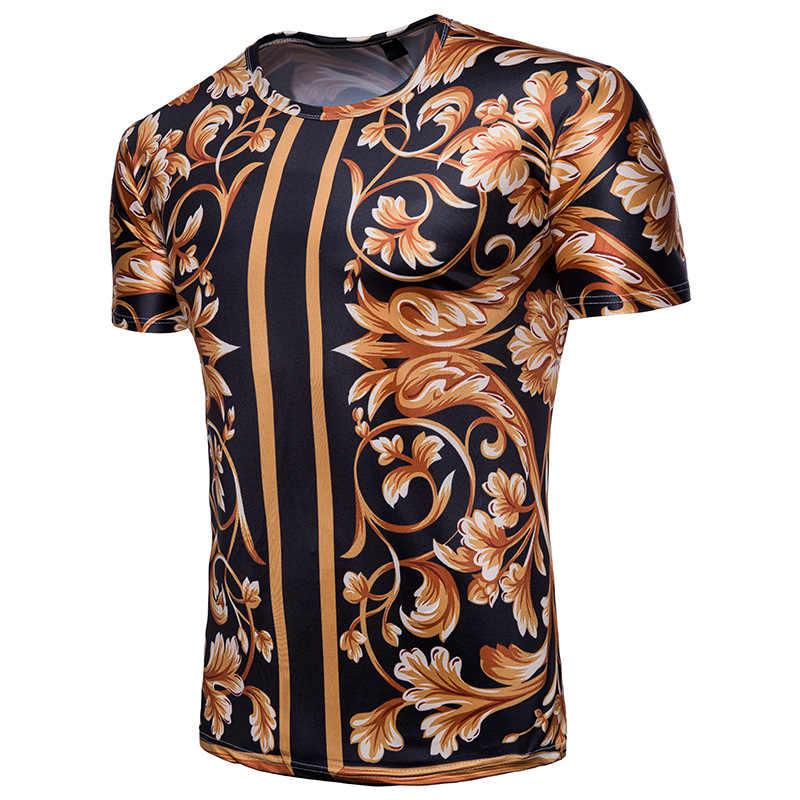 Camiseta de marca de lujo Floral para hombre 2019 marca Slim Fit Harajuku Hip Hop Streetwear camiseta de hombre de manga corta Camiseta barroca camisa hombre