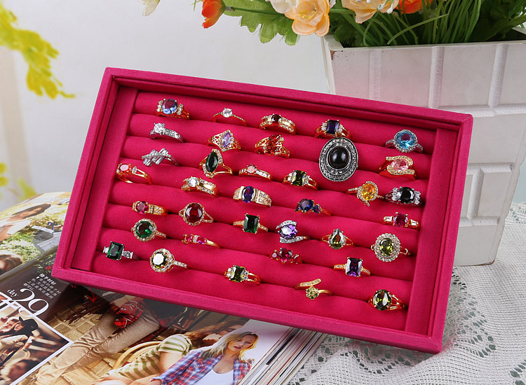 Luxury Suede Engagement Ring Box Woman Ring Storage Case Ear Stud/Earrings Tray Holder Jewelry Display Stand Organizer Jewelry