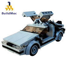 Buildmoc Back To of Futures Supercar Time Machine MOC-23436 Speed Champion Mini Car Model Building Block Toy Boy Gift