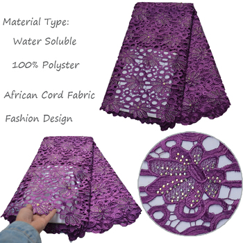 Alisa Fashion Water Soluble African Cord Lace Fabric 2019 High Quality Water Soluble Nigeria Sewing Clothes Material With Stones