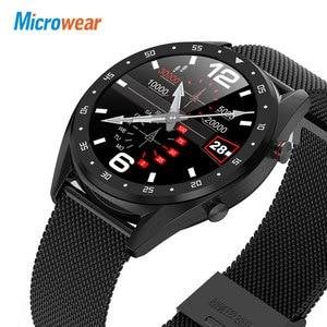 Image 5 - Microfones relógio inteligente l7 pressão arterial/bluetooth/gps/monitor de sono relógio inteligente fitness men women
