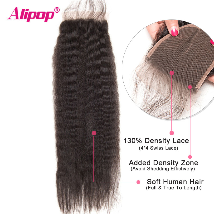 Kinky Straight Hair With Closure Peruvian Human Hair 3 Bundles With Closure Alipop Remy Hair Closure With Bundles 10-28Inch 4Pcs (1)