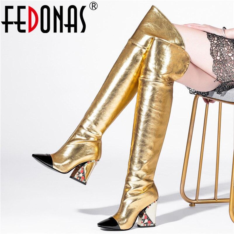 FEDONAS nouveau cuir véritable bottes longues chaussures de fête femme hiver femmes sur le genou bottes mode talons carrés bottes de grande taille