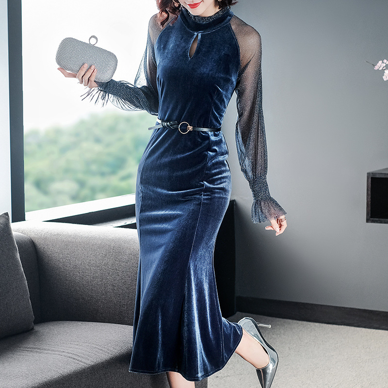 Women dress 2019 autumn new womens  bright silk fashion elegant fishtail sexy women