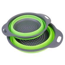 Colador plegable de silicona para cesta de lavado de frutas y verduras, colador plegable, escurridor con utensilios de cocina con mango