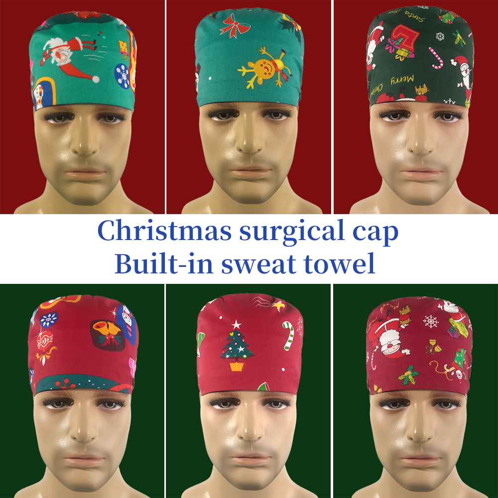 Cotton Operating Room Hat Christmas Surgical Cap Medical Work Hat Sweat-absorbent Pet Hospital Doctor Dental Clinic Nursing Caps