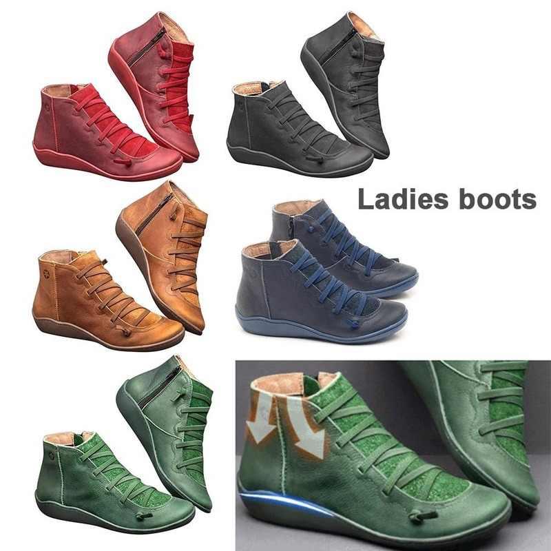2019 arco Botas de apoyo mujeres amortiguación suave cómodo de fondo plano Botas de cuero con cremallera botines zapatos de Mujer Botas Mujer