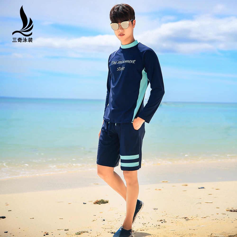 Fabricantes de Venda Direta Homens Sanqi Dividir Tipo Moda Longa-Bolha de mangas compridas Vestuário Superior Set Curto Boxer Primavera Quente de Praia sho