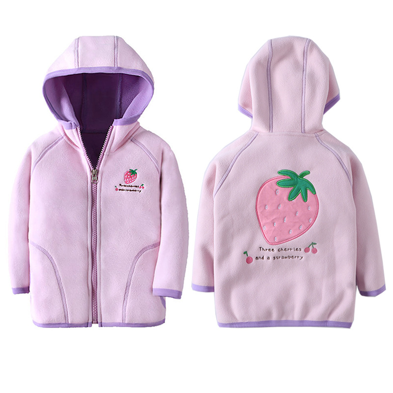 Jacket Kids Girl Hooded Long Sleeve Boy Outerwear Strawberry Embroidery Polar Fleece Coat Children Clothes For 18M-7 Years 2