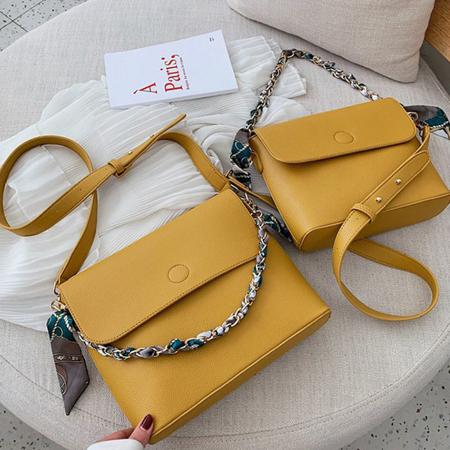 Wild Texture Crossbody Bags Womens Handbag The New Fashion PU Womens Solid Color Chain Shoulder Bags