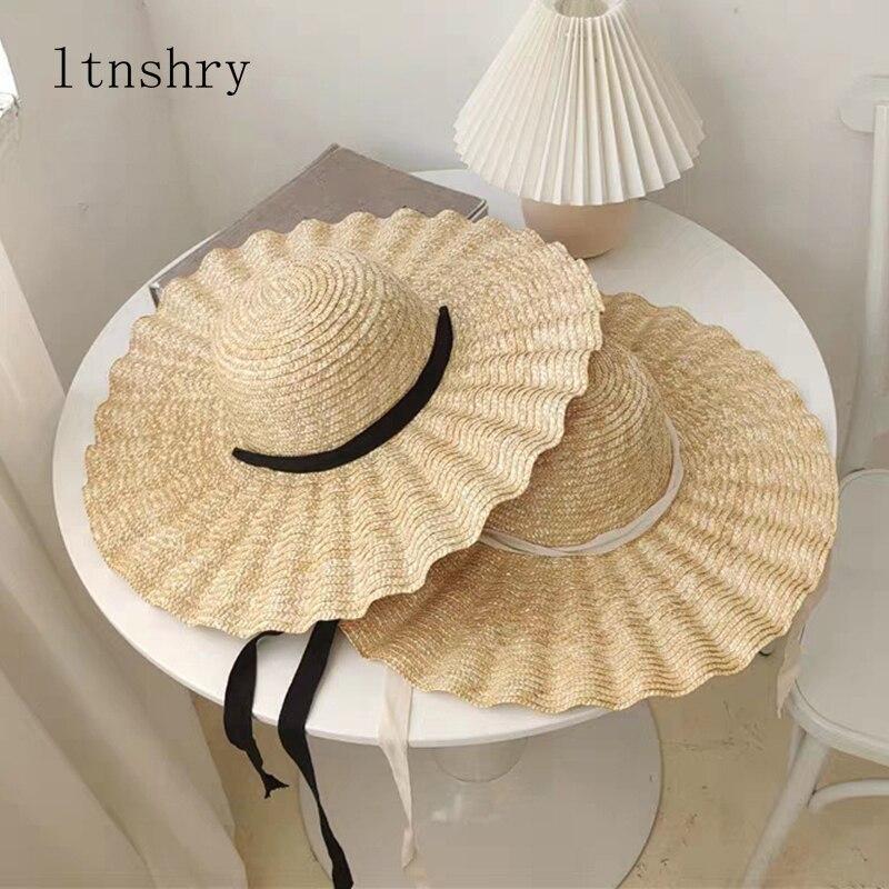 Шляпа женская Соломенная с лентой, Пляжная Панама с широкими полями, праздничная элегантная шапка от солнца, лето 2020
