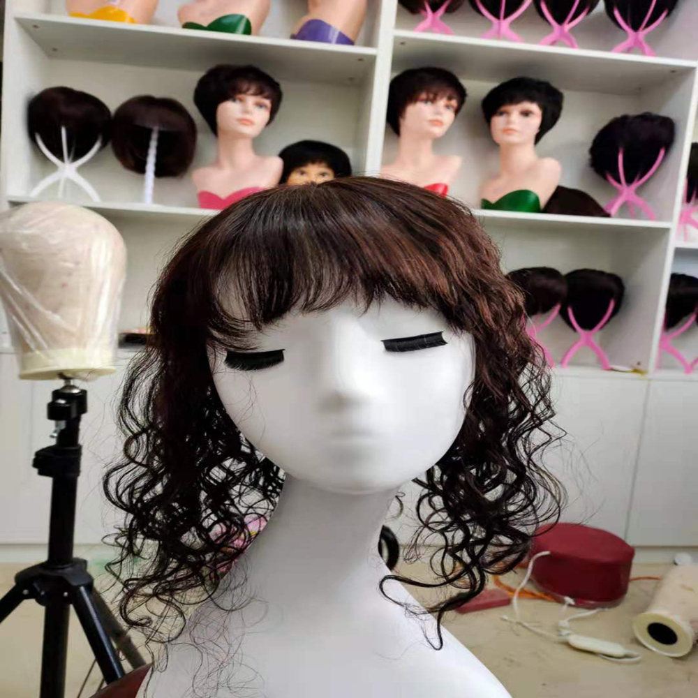 Silk Top Curly Wave Toupee For Women Toupee Dark Brown Remy Hair Wave Women Toupee Hairpiece 100%Human Hair Wig