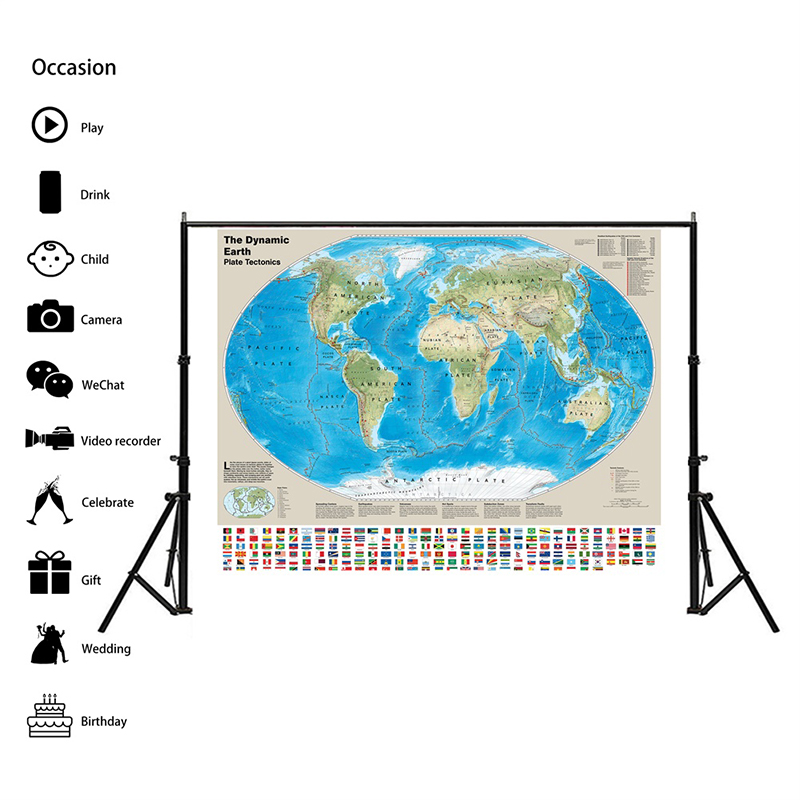 The Dynamic Earth Plate Tectonics Map 150x100cm Non-woven World Map With National Flags For Geological Research