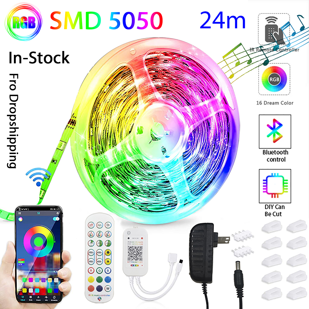 2021 New APP Bluetooth Led Strip Lights 24M RGB 5050 SMD Flexible Ribbon Lamp 3M 6M 12M 18M Tape Diode DC 12V Control For Room
