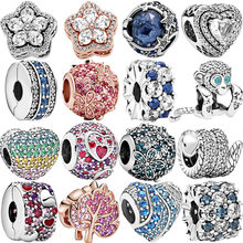 HOT 925 Sterling Silver Beads Sparkling Pavé Multiple Zircons Charms Fit Original Pandora Bracelets Women DIY Jewelry