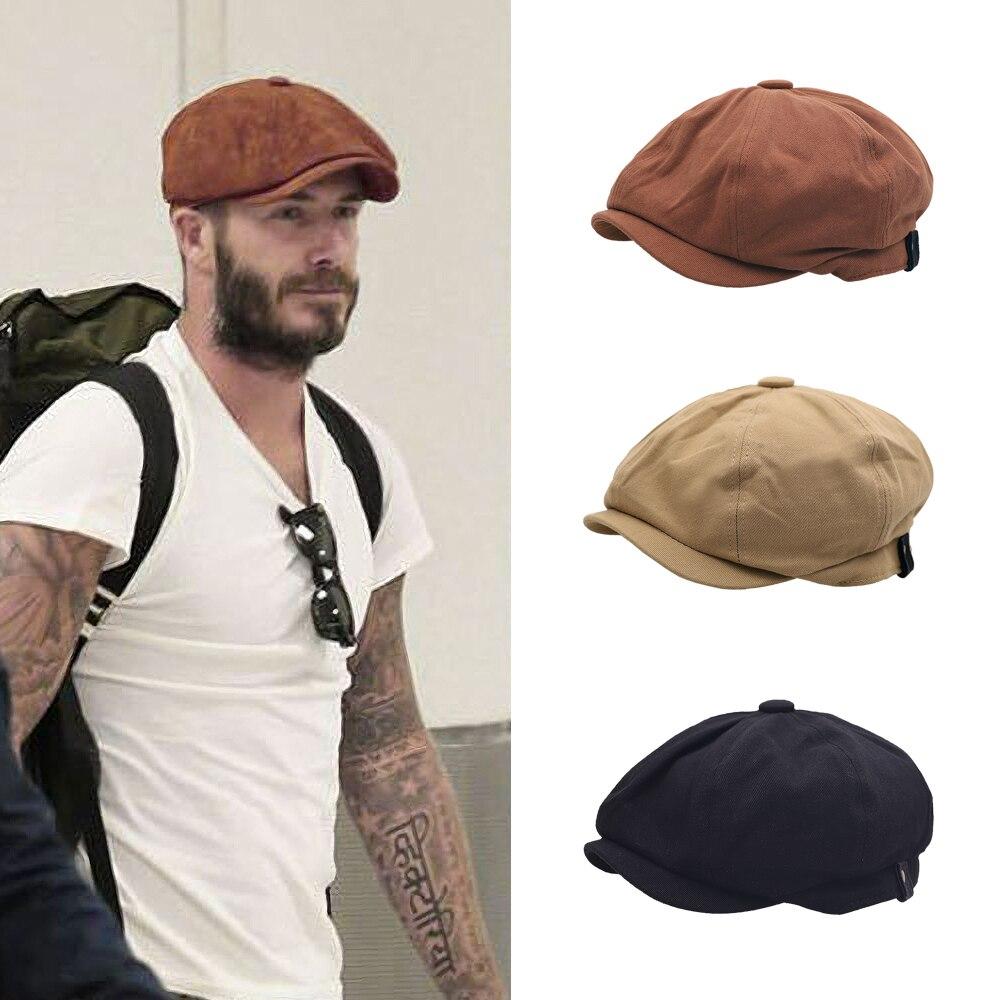 British Style Newsboy Cap Men Cotton Ascot Cap Male Spring Summer Vintage Brand New Octagonal Flat Cap