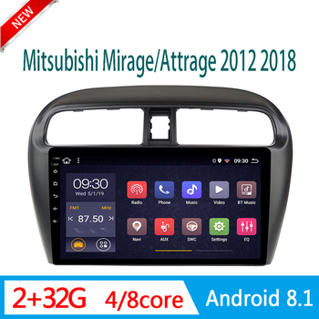 car radio Android For Mitsubishi Mirage Attrage 2012-2018 central DVD Player stereo system head unit SWC WIFI 2.5D split screen image
