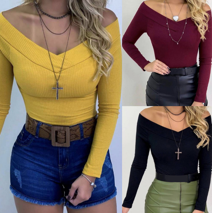 Women Lady Long Sleeve Short Bodysuit Autumn Long Sleeve Slim Jumpsuit Stretch Bodysuit Leotard Top Off-shoulder Slash Neck Tops