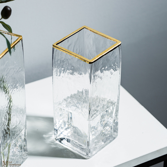 Modern Design Glass Vase Home Decoration Accessories Flower Vase With Golden Rim Desk Plants Cup Figurines Wholesale Ornaments 3