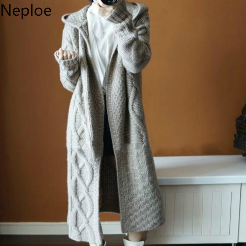 Neploe Autumn Winter Women Hooded Thick Knit Cardigan Long Section Fashion Cross Solid Abrigos Mujer Inverno 2019 45814