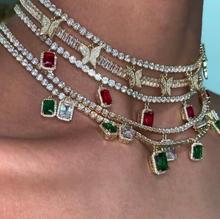Buzlu out bling hip hop kadınlar takı kalp ok cz tenis zinciri cz kelebek charm 32 + 10cm gerdanlık kolye