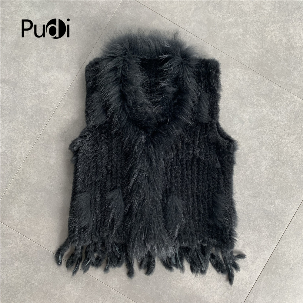 CR704  Free shipping womens natural real rabbit fur vest with raccoon collar waistcoat/jackets knitted winter