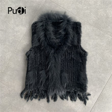 CR704  Free shipping womens natural real  rabbit fur vest  with raccoon fur collar  waistcoat/jackets  rabbit knitted winter