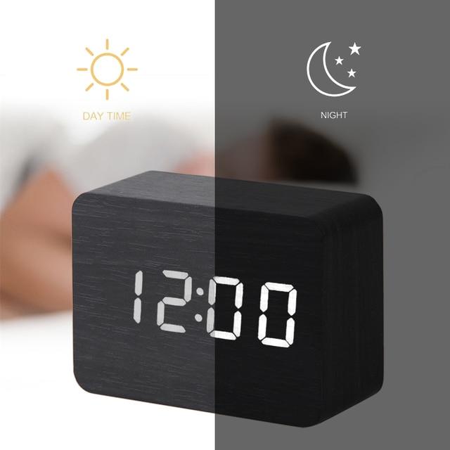 LED Wooden Clock Digital Alarm Clocks Desktop Table Clocks Electronic Voice Control Temperature Display Despertador Home Decor 5