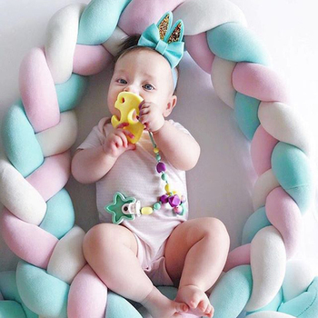 3M/4M Newborn Bed Bumper Long Knotted 3 Braids Pillow Baby Bed Bumper Knot Crib Infant Room Decor Baby Room Decor Baby Cot Crib недорого