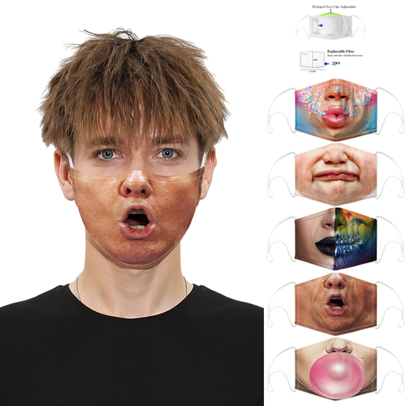 Funny Adult Protective Mask 3D Printed Anti Dust Saliva PM2.5 Filter Mouth Cover Masks Reusable Washable Women Men Face Maks