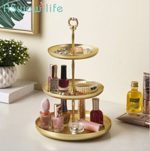 Creative Gold Storage Trays Desktop Cosmetics Jewelry Metal Tray Food Snack Service Tray For Home Kitchen Storage Supplies