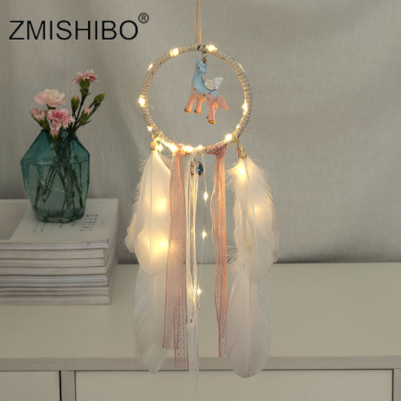 ZMISHIBO Unicorn Dream Catcher Feathers Catching Warm White Monternet Wedding Party Bedroom Home Decoration Romantic Night Light