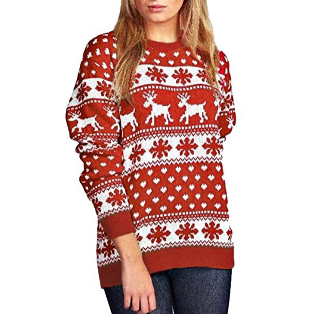 Merry Christmas Sweater Women Winter Xmas Knitted Pullover Sweater Female Snow Patterns Dot Print Long Sleeve Jumper Sweater
