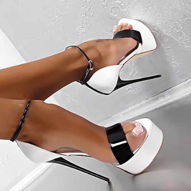 Gorąca sprzedaż 2020 nowe damskie buty na wysokim obcasie sandały 16cm Sexy striptizerka pompka imprezowa buty damskie buty gladiatora na płaskim obcasie sandały rozmiar 34-46