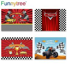 Funnytree race theme photo curtain birthday background car backdrop grid banner child Baby photography photozone photophone
