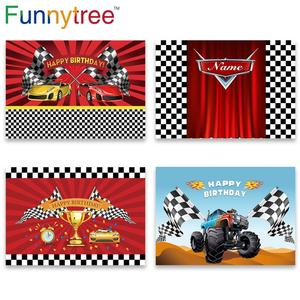 Image 1 - Funnytree race theme photo curtain birthday background car backdrop grid banner child Baby photography photozone photophone