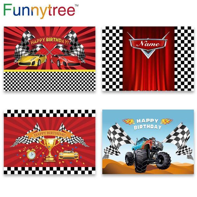 Funnytree race theme photo curtain birthday background car backdrop grid banner child Baby photography photozone photophone