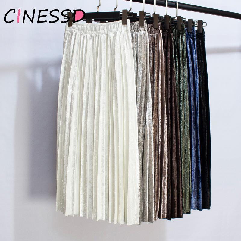 White Long Pleated Skirt Autumn New Women Velvet Maxi Skirt Winter High Waist Elegant Tulle Long Pleated Party Skirt Mujer Saias