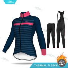 Winter Fleece Jersey Set Women Cycling Clothing Long Sleeve Clothes Pro Team Riding Thermal Warm MTB Gel pad Pants Kit