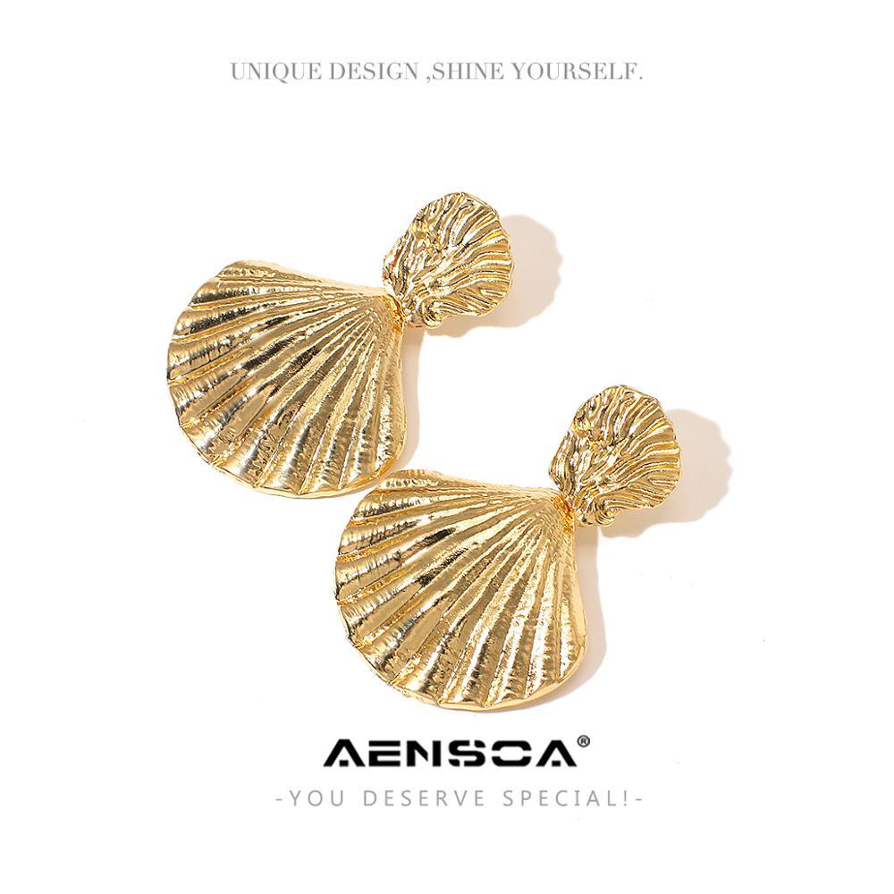 AENSOA Gold Farbe Metall Shell Ohrringe Romantische Sommer Einzigartige Legierung Shell Form Baumeln Ohrringe Für Frauen Meerjungfrau Schmuck