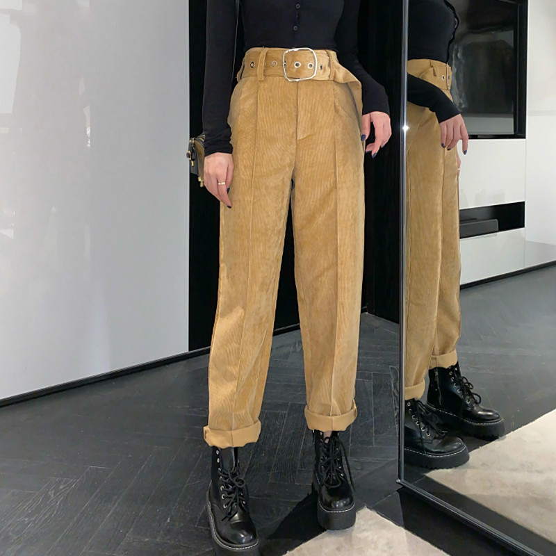 Autumn Winter Trouser For Women High Waist Sashes Belted Women Corduroy Pants Female Korean Straight Long Pant 2019