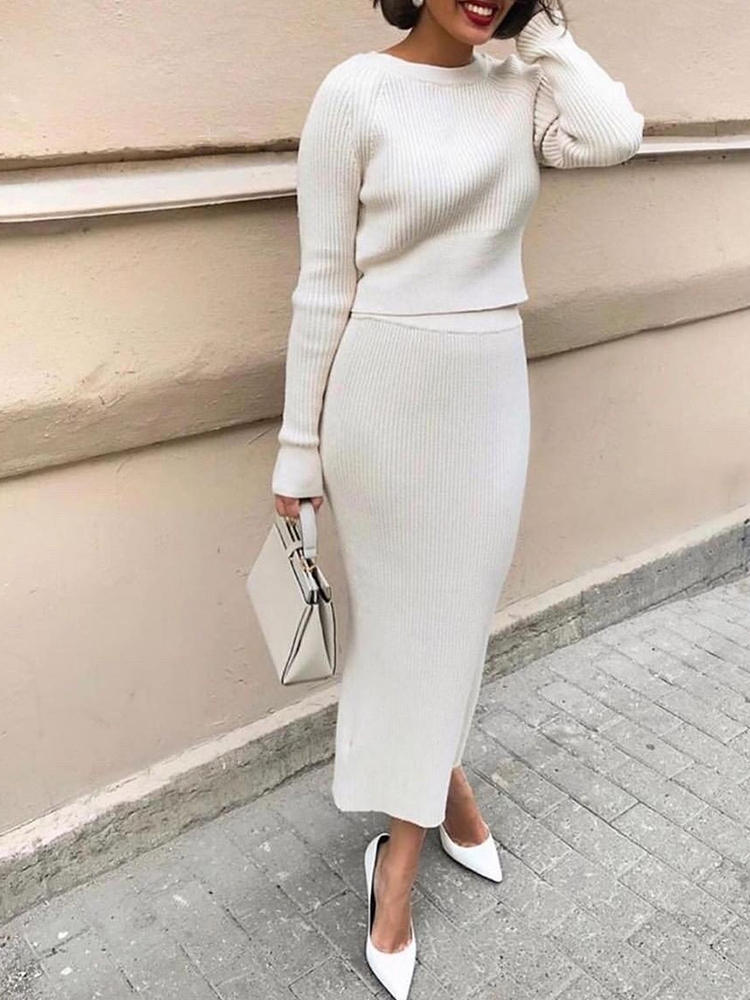 Knit Dress Two-Piece-Set Simplee Round-Neck Street-Style Elegant Autumn High-Waist Stripe